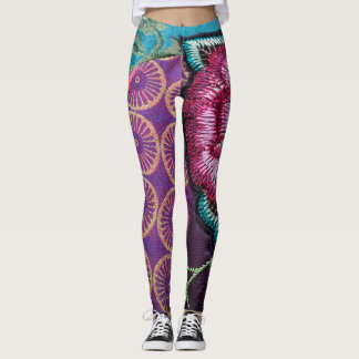 Embroidered fabric and rose print bohemian legging