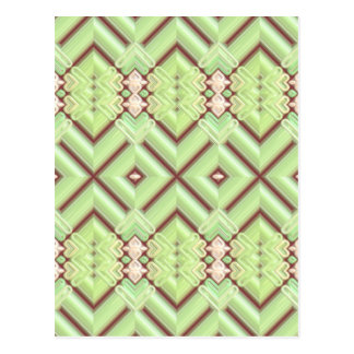 Embroidered Fabric Inlaid. Elegant Apple Green Postcard