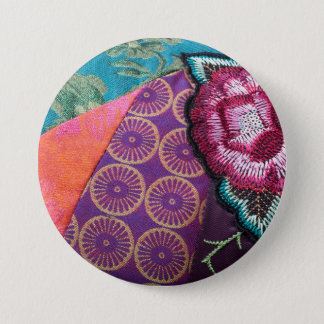 Embroidered fabric print and rose button