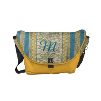 Embroidered French Tapestry Look Custom Monogram Commuter Bags