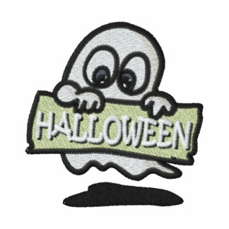 Embroidered Ghost Holding Halloween Sign