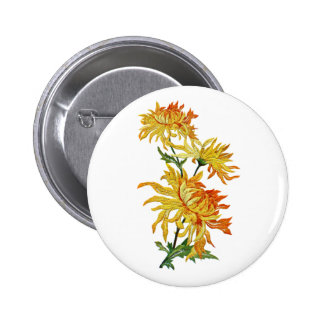 Embroidered Golden Chinese Chrysanthemum 2 Inch Round Button