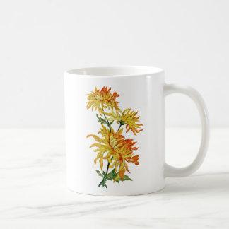 Embroidered Golden Chinese Chrysanthemum Coffee Mug