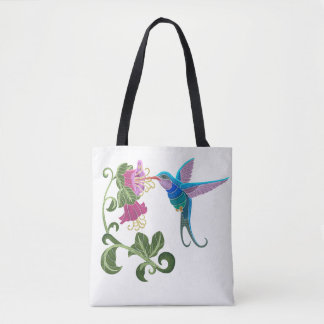 Embroidered Hummingbird and Hibiscus Flowers Tote Bag