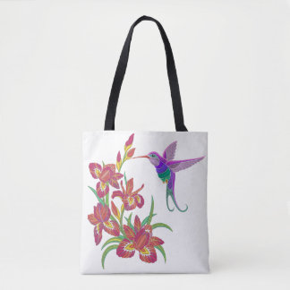 Embroidered Hummingbird and Iris Flowers Tote Bag