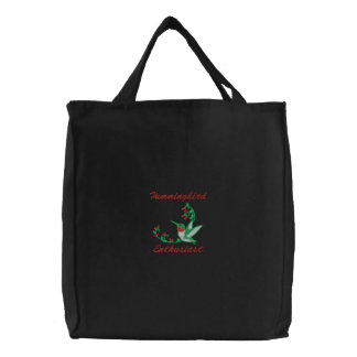 Embroidered Hummingbird Tote Canvas Bag