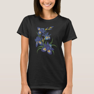 Embroidered Iris Flowers T-Shirt