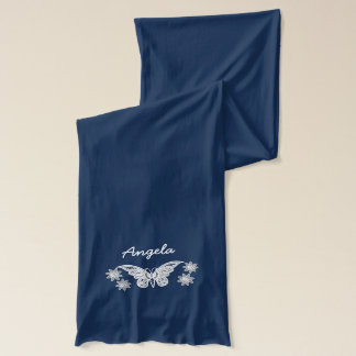 Embroidered Look Butterflies Flowers Personalized Scarf