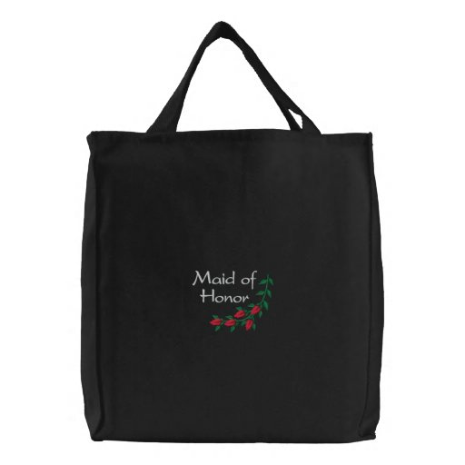 Embroidered Maid of Honor With Red Roses Embroidered Tote Bags