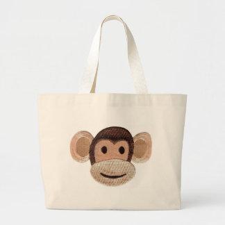 Embroidered Monkey Head Jumbo Tote Bag