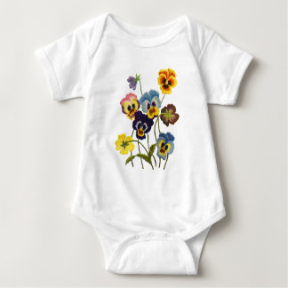 Embroidered Parade of Pansies Baby Bodysuit
