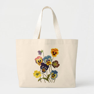 Embroidered Parade of Pansies Jumbo Tote Bag