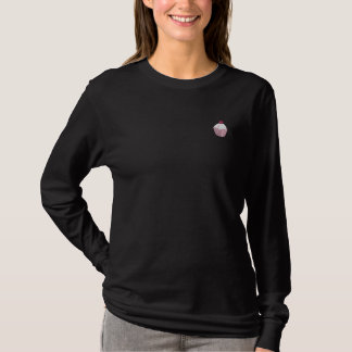 Embroidered Pink Cupcake Embroidered Long Sleeve T-Shirt