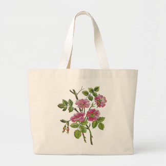 Embroidered Pink Old English Roses Jumbo Tote Bag