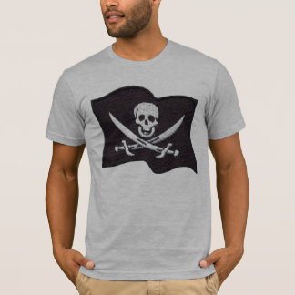 Embroidered Pirate Flag grey fitted mens tshirt