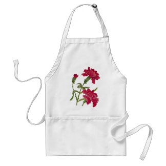 Embroidered Red Carnations Standard Apron