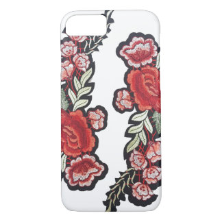 Embroidered rose patch red roses embroidery iPhone 8/7 case