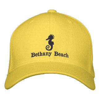 Embroidered Seahorse Beach Hat