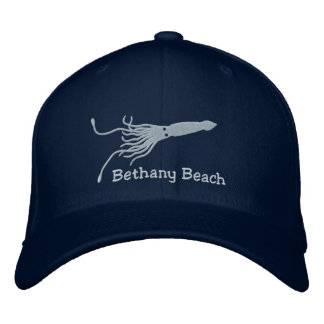 Embroidered Squid Hat - Navy - with Custom text Embroidered Hats