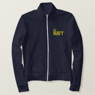 EMBROIDERED U.S. NAVY BLUE ZIP JACKET