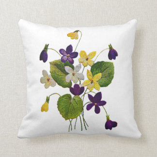 Embroidered Violet Pillow
