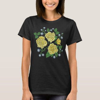 Embroidered Yellow Roses Flowers T-Shirt