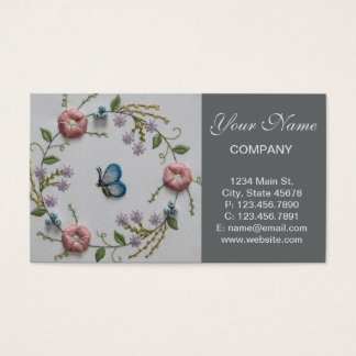 Embroidery Floral and Butterfly Business Card