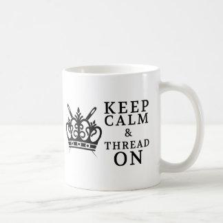 Embroidery Keep Calm Thread On Classic White Coffee Mug