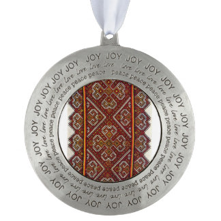 Embroidery Ornament Russian Round Pewter Ornament