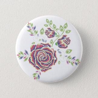 Embroidery Purple Rose Ornament 2 Inch Round Button