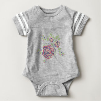 Embroidery Purple Rose Ornament Baby Bodysuit