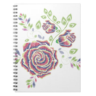 Embroidery Purple Rose Ornament Notebook