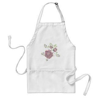 Embroidery Purple Rose Ornament Standard Apron