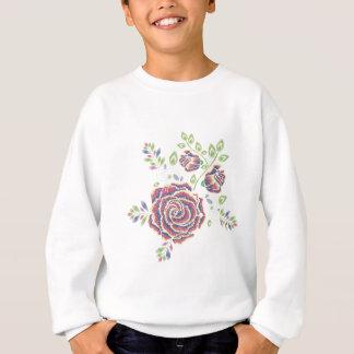 Embroidery Purple Rose Ornament Sweatshirt