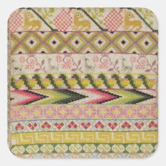 Embroidery sampler square sticker