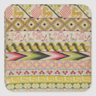 Embroidery sampler square stickers