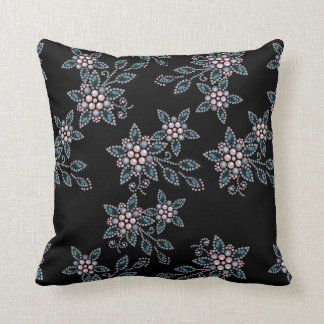 Embroidery with beads throw pillow