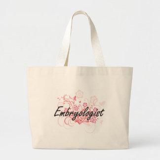 Embryologist Artistic Job Design with Flowers Large Tote Bag