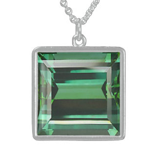 Emerald 3 sterling silver necklace