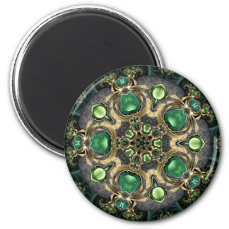 Emerald and Gold Kaleidoscope Magnet