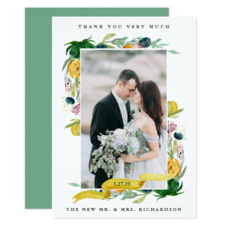 Emerald and Gold Peonies   Wedding Photo Thank You Card