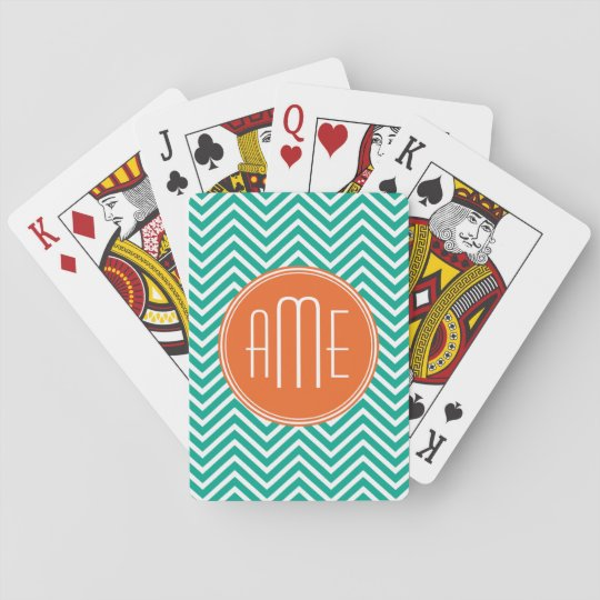 Emerald and Orange Chevrons Custom Triple Monogram Playing Cards
