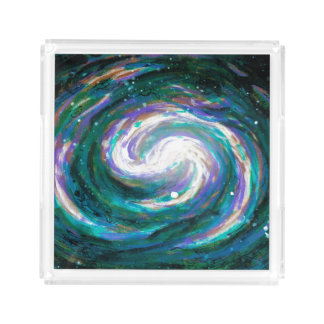 Emerald and Purple Galaxy Acrylic Tray