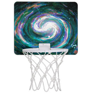 Emerald and Purple Galaxy Mini Basketball Hoop