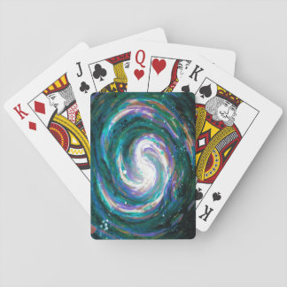 Emerald and Purple Galaxy Playing Cards