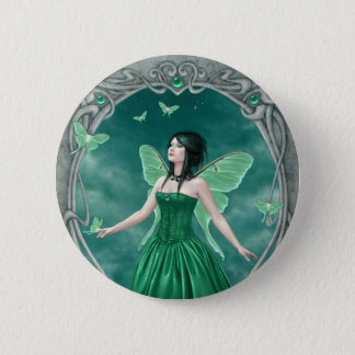 Emerald Birthstone Fairy Button Badge