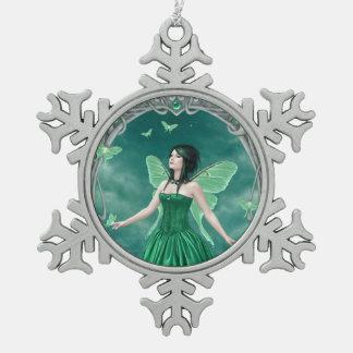 Emerald Birthstone Fairy Snowflake Ornament