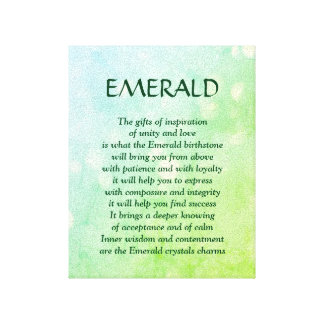 Emerald birthstone - May poem art canvas