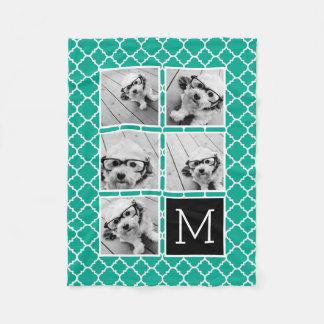 Emerald & Black Instagram 5 Photo Collage Monogram Fleece Blanket