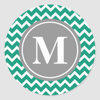 Emerald Chevron Pattern Grey Monogram Classic Round Sticker